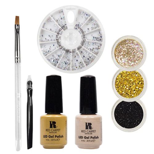 Red Carpet Manicure Gems & Jewels Golden Dust LED Gel Polish Nail Art Kit
